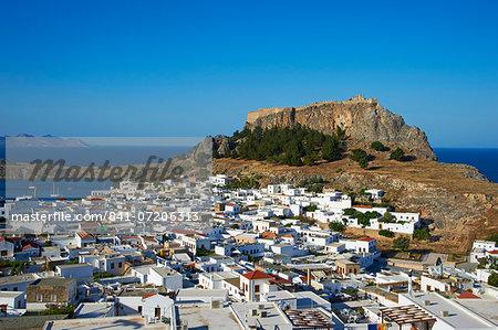 Acropolis and village, Lindos, Rhodes, Dodecanese, Greek Islands, Greece, Europe