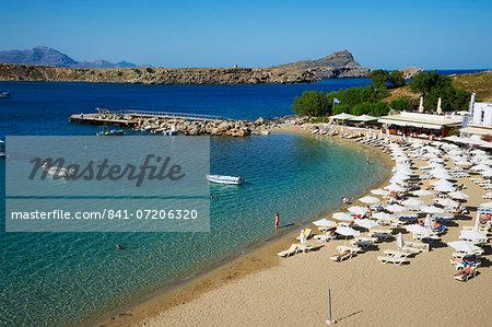 Lindos Beach, Lindos, Rhodes, Dodecanese, Greek Islands, Greece, Europe