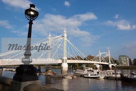 Albert Bridge on the River Thames, Chelsea, London, England, United Kingdom, Europe