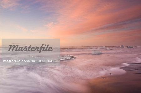 Icebergs on Beach, Jokulsarlon, Iceland, Polar Regions