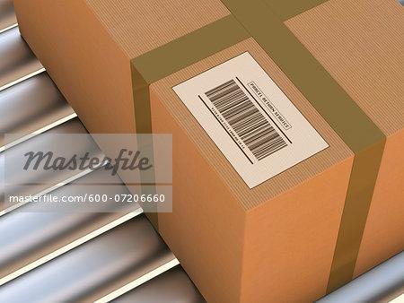 3D-Illustration of Parcel Return Service on Conveyor Belt