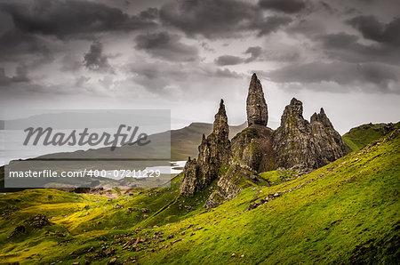Landscape view of Old Man of Storr rock formation, Scotland, United Kingdom