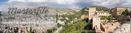 Panoramic view of the Alhambra in Granada. Views of Granada, Sacromonte and Albaicin