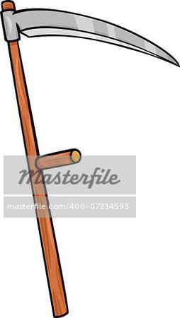 Cartoon Illustration of Scythe Retro Agriculture Tool Object Clip Art