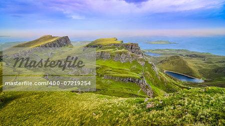 Panoramic view of Quiraing coastline in Scottish highlands, United Kingdom