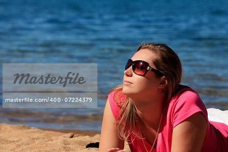 Girl on vacation at a lake Tahoe