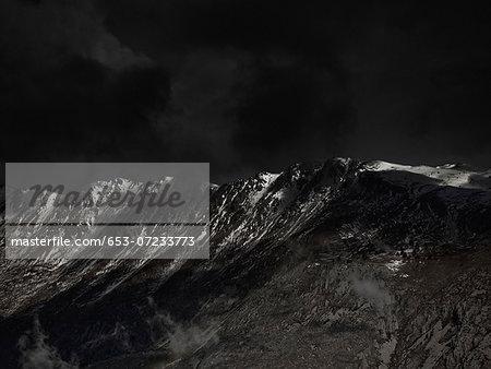 An ominous sky above a mountain range
