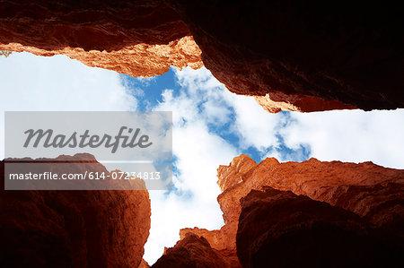 Looking up from Navajo Loop, Bryce Canyon National Park, Utah, USA