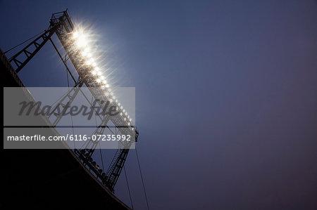 Stadium floodlights at night time, Beijing, China