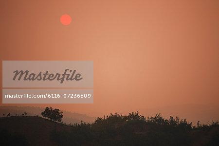 Landscape of sunset over the mountain range, Shanxi Province, China