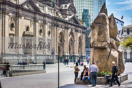 Incan Statue in Plaza de Armas, Santiago, Chile