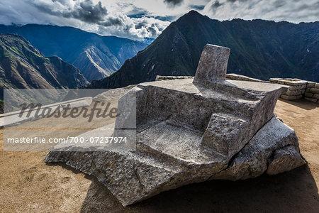 The Intihuatana (hitching post for the sun), Sun Temple, Pisac, Machu Picchu, Peru