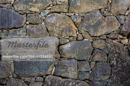 Close-up of strcuture of stone walls, Machu Picchu, Peru