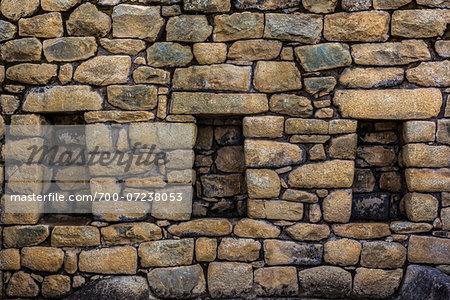 Close-up of structure of stone walls, Machu Picchu, Peru