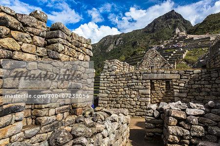 Close-up of stone walls and ruins, Machu Picchu, Peru