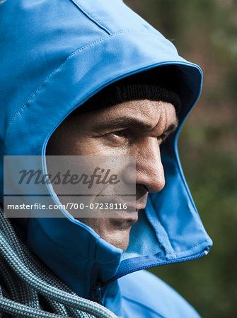Portrait of Mature Man in Rain Coat, Schriesheim, Baden-Wurttemberg, Germany