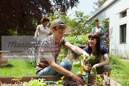 Friends gardening