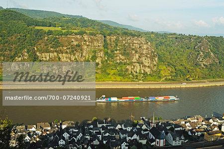 High Angle View of Rine River and Kestert, Rhein-Lahn, Rhineland-Palatinate, Germany