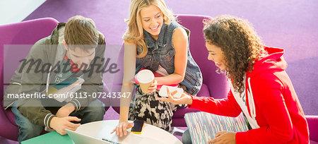 University students talking in lounge