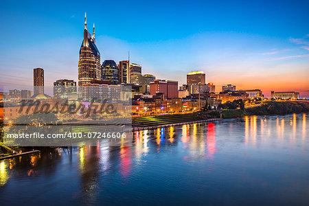 Skyline of downtown Nashville, Tennessee.