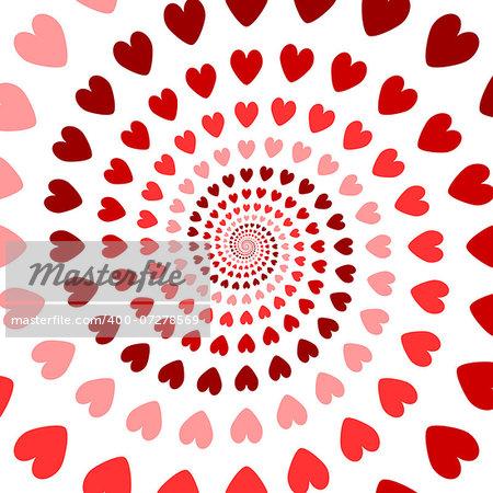 Design colorful spiral heart backdrop. Valentines Day background. Vector art