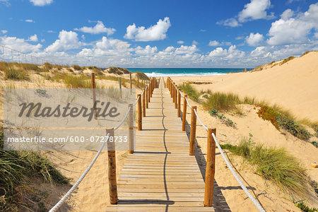 Wooden Walkway through Sand Dunes leading to Beach, Cascais, Lisboa, Portugal