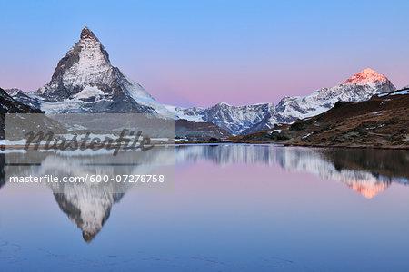 Matterhorn reflected in Lake Riffelsee at Dawn, Zermatt, Alps, Valais, Switzerland
