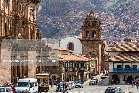 Street scene with Church of the Society of Jesus, Plaza de Armas, Cusco, Peru
