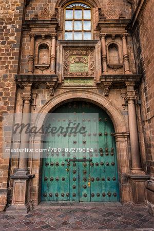 Close-up of entrance, Church of the Society of Jesus, Plaza de Armas, Cusco, Peru