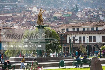 Water fountain and statue of Pachacuti, Plaza de Armas, Cusco, Peru