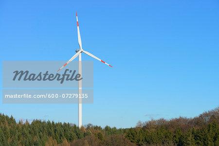 Wind Turbine, Odenwald, Hesse, Germany