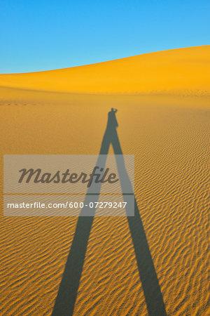 Shadow of Desert Tourist, Matruh Governorate, Libyan Desert, Sahara Desert, Egypt, Africa