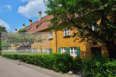 Buildings in Fuggerei, Augsburg, Swabia, Bavaria, Germany