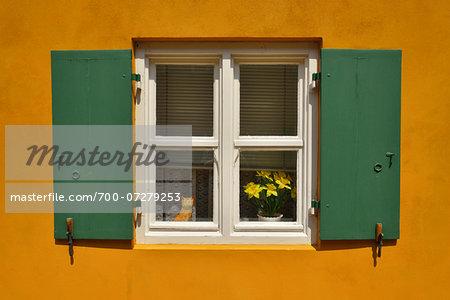 Window in Fuggerei, Augsburg, Swabia, Bavaria, Germany
