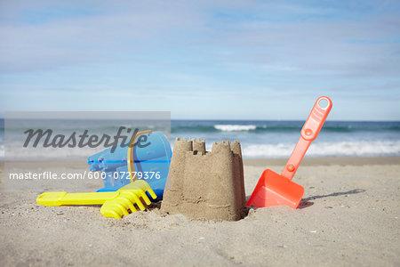 Beach Toys and Sand Castle at Beach, Saint-Jean-de-Luz, Pyrenees-Atlantiques, France