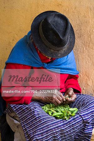 Vegetable Seller at Local Food Market, Otavalo, Imbabura Province, Ecuador