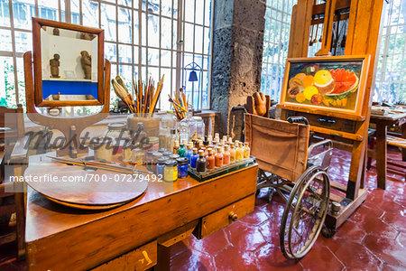 Interior of Museo Frida Kahlo, also known as the Blue House (La Casa Azul), Mexico City, Mexico