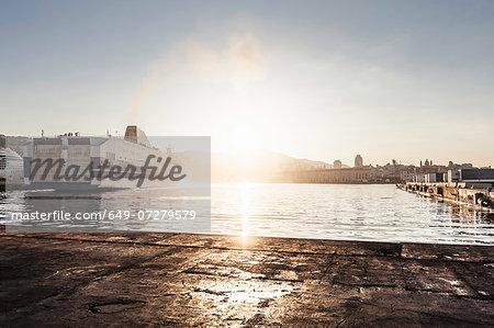 Ship in harbour, Genoa, Sardinia, Italy
