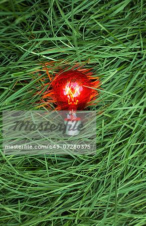 Still life of red lightbulb on grass