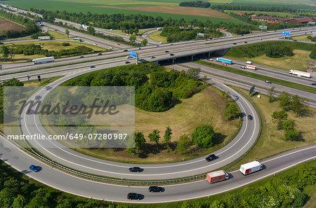 View of motorway flyover, Munich, Bavaria, Germany