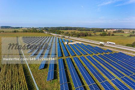 View of solar power panels, Munich, Bavaria, Germany