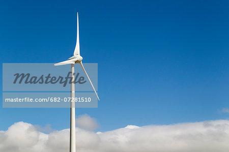 Windmill on a wind farm near Zahara de los Atunes. Cadiz province, Andalucia, Spain.