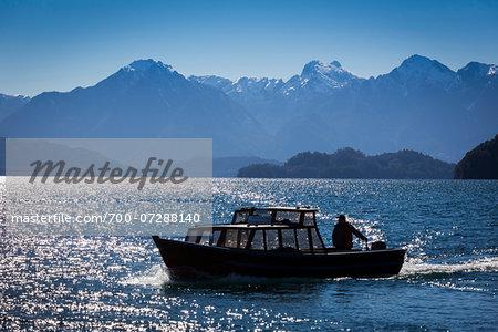 Boat on Water, Petrohue, Parque Nacional Vicente Perez Rosales, Los Lagos Region, Patagonia, Chile