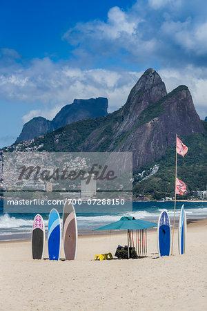 Surfboards in Sand, Ipanema Beach, Rio de Janeiro, Brazil