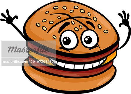 Cartoon Illustration of Cheeseburger or Hamburger Fast Food Character Clip Art