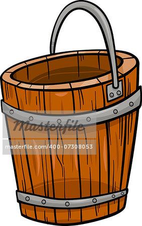 Cartoon Illustration of Wooden Bucket Retro Clip Art Object
