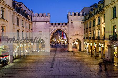 Karlstor Gate and Karlsplatz Square in the Evening, Munich, Germany
