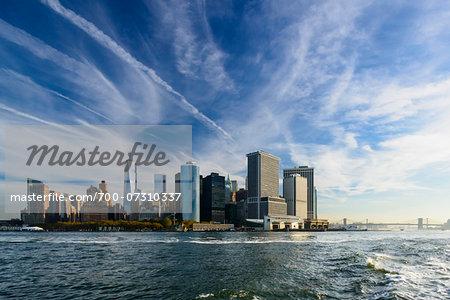 View of Lower Manhattan skyline, from Staten Island Ferry, downtown Manhattan, New York City, New York, USA