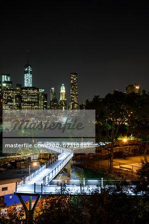 Brooklyn Bridge Park at night, Brooklyn, Manhattan, New York City, New York, USA