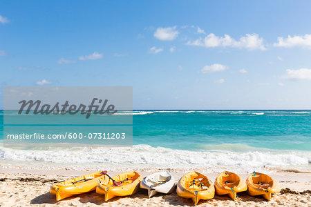 Sea kayaks on the beach by the water, Playa Bavaro, Punta Cana, La Altagracia Province, Dominican Republic, Caribbean